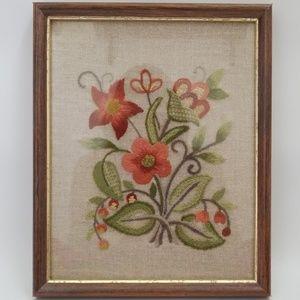 Wildflower Crewel Framed Needlework 1989 Vintage